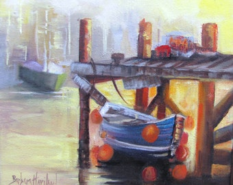 Docked Boat at Sunset  Barbara Haviland Texas Artist OPS