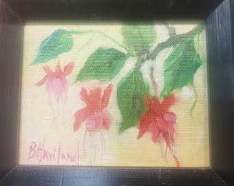 Pink Fuschia, flowers, framed, miniature oil