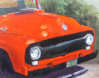Red Truck Framed Barbara Haviland-BarbsGarden transporttion Vehicle