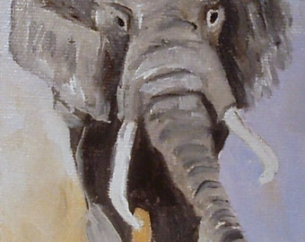 Elephant  miniature oil framed Barbara Haviland Barbsgarden wildlife