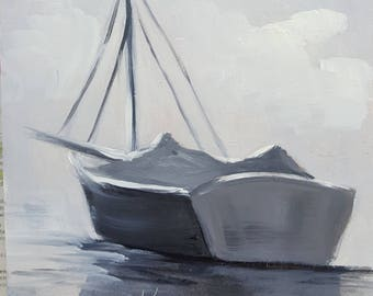 Black and White SailBoat,oils panel,Barbsgarden,Barbara Haviland,Texas Artist