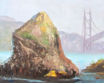 San Francisco Bridge and Rock, landscape, #oilpainting, #endofyearsale, Barbara Haviland