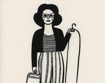 Lady #1 Block Print