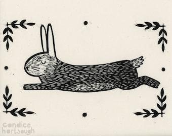 Rabbit #1 Block Print