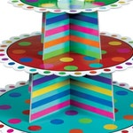 Rainbow Cupcake Tower Stand with Polka Dots and optional Happy Birthday top sign with 3 tiers or levels