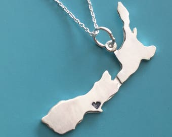 Custom New Zealand Map Necklace
