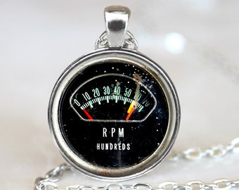 Vintage RPM Gauge Pendant, RPM Gauge Art Pendant,  Photo Art Pendant, Antique RPM Gauge Art Pendant, Bronze Silver, Vintage Gauge Photo 1245