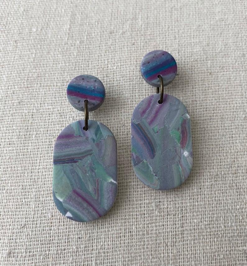 Fluorite Terrazzo Tab earrings