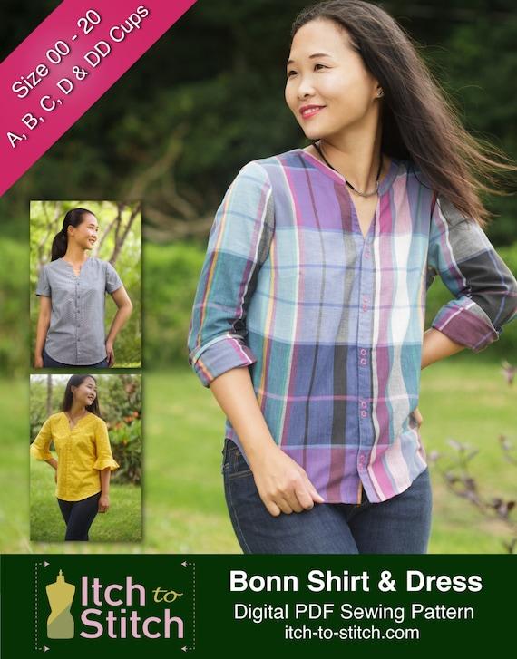 PDF-Schnittmuster Bluse: Bonn Hemd und Shirt-Kleid für Frauen | Etsy