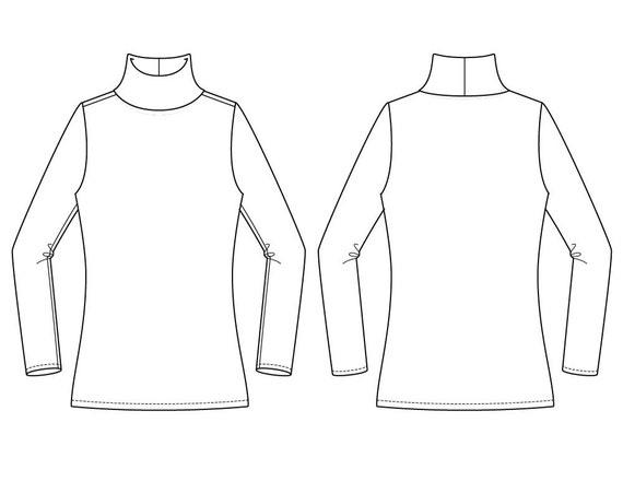 Sweater Sewing Pattern Turtle Neck PDF Pattern Womens   Etsy