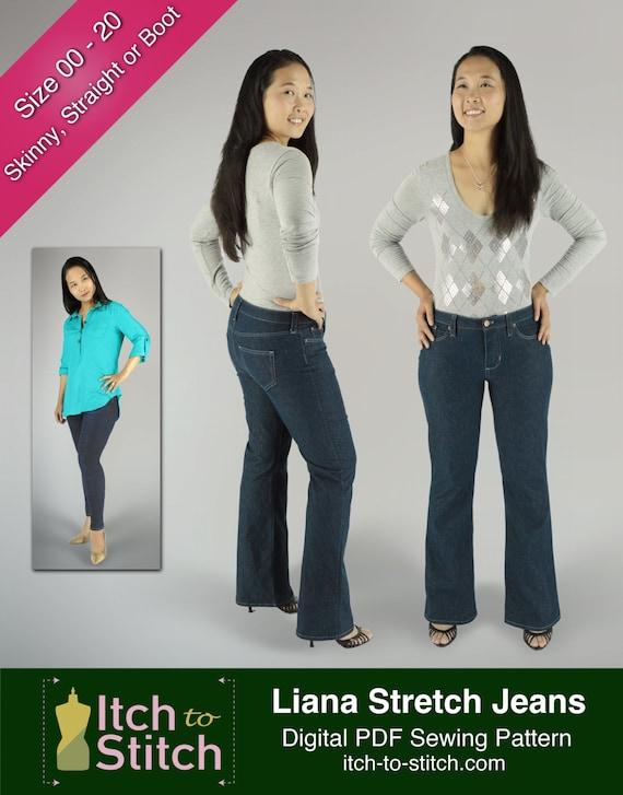 PDF-Schnittmuster für Frauen: Liana-Stretch-Jeans | Etsy