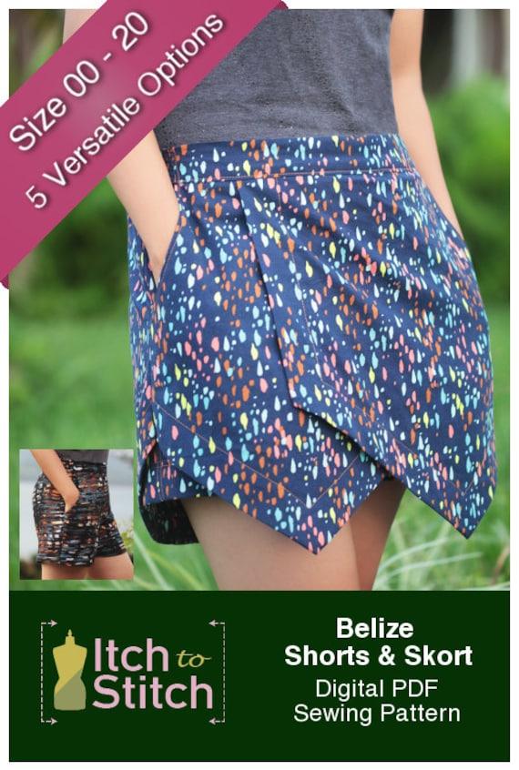 Belize Shorts & Skort PDF-Schnittmuster für Frauen PDF | Etsy