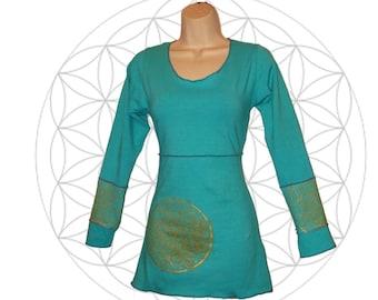 Organic Shirts - Long Sleeve Mandala Print  top Handmade to order with organic cotton and hemp jersey - Custom made to order