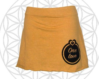 Hemp Clothing - Organic Cotton and Hemp  Mini Skirt with One Love print,  Reggae Lovers - Custom made for you and great for layering