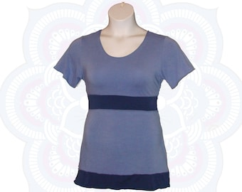 Organic Cotton and Bamboo Top - Ready To Ship in a Size Large - Short sleeve Organic Shirt, Handmade and dyed with low impact dyes