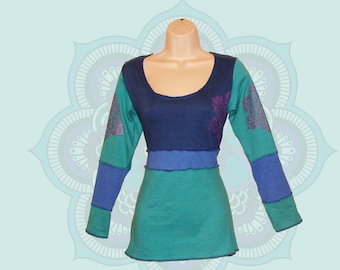 Organic Clothing - One of a Kind mandala print top - ready to ship in a size Medium - Organic Cotton and Hemp Jersey  - Handmade, dyed,