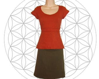Organic shirts - Organic Cotton and Hemp Cap sleeve top- Handmade and dyed to order you choose from 15 colors - Hemp shirts
