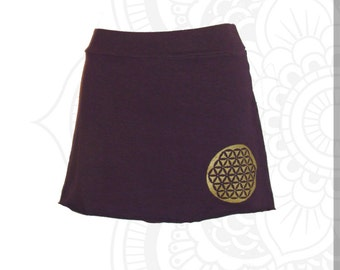 Organic cotton and Hemp Skirt  with Flower of LIfe Print - Custom made for you  great for layering