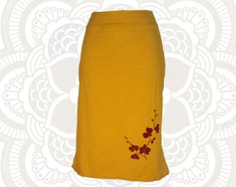 Organic Printed Skirt  - Calf length Organic Cotton and Hemp Skirt- Handmade, dyed, and printed with Orchid print
