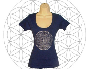 Organic shirts - Cotton and hemp blend Short sleeved top- Handmade and dyed to order you choose from 15 colors - printed with Mandala Print