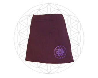 Hemp and Organic cotton Mini Skirt  with Sacred geometry print - Custom made for you and great for layering