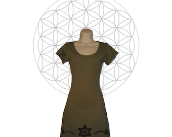 Organic cotton and Hemp Tunic/Mini Dress with Sacred Geometry print - Handmade to order - Hand dyed in your choice of 15 colors