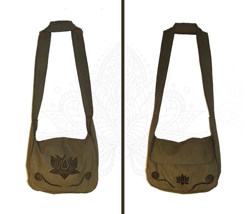 b419f2508603 Hemp Bag - Lotus Print Bag Handmade from Organic Cotton and Hemp Muslin and  Hand Dyed and printed - Cross body Strap or Shoulder Strap