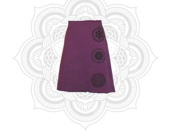 Shipping only - Sacred Geometry Print Trinity Skirt - Organic Cotton and Hemp Skirt- Handmade, dyed, and printed