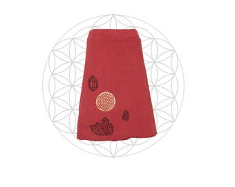 Organic Skirt -Made from Organic Cotton and Hemp Fleece weight Terry - Fall/Winter Skirt - Printed with Flower of Life and Crystals -