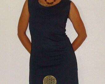 Organic Dress Women - Organic Cotton and Hemp Dress - Sacred geometry clothing - Flower of life print Sleeveless organic cotton and hemp