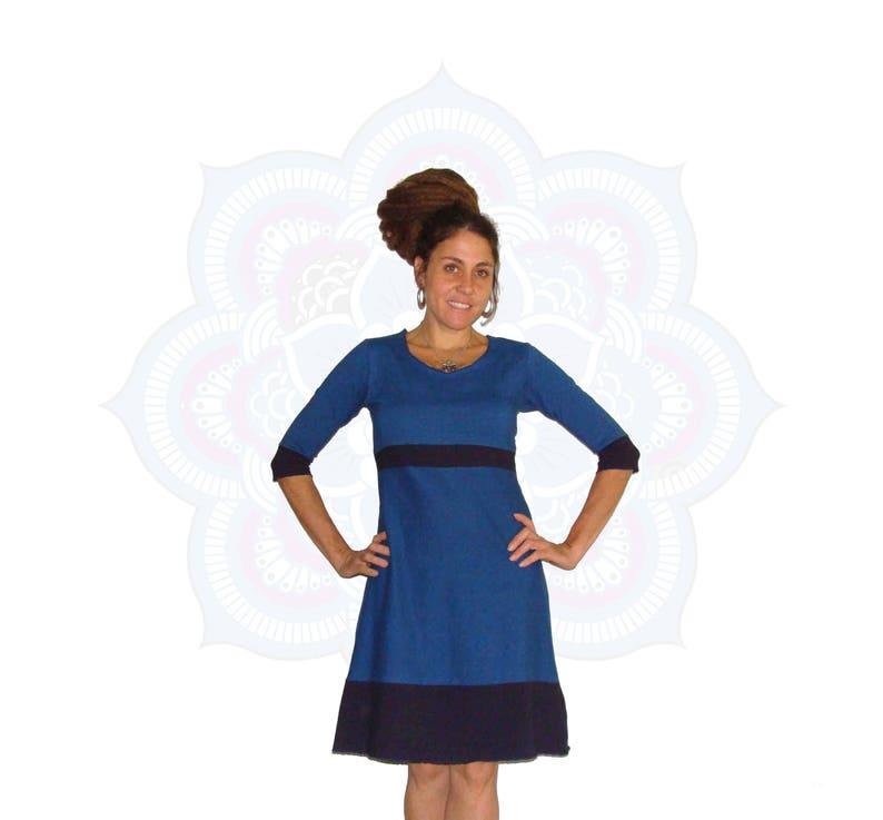 665adcf2e5309 Free Shipping (within U.S.) -Organic Dress - Ready to Ship in a Size Medium  - Organic Cotton and Hemp Color Block Dress- Hemp dress