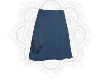 Organic Skirt - Organic Cotton and Hemp Feathers print Skirt Handmade - Handmade from fleece weight terry- Custom made to order - Hand dyed