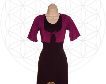 Organic Cotton and Bamboo Shrug -  Quarter sleeve with tie front - Custom made and dyed to order