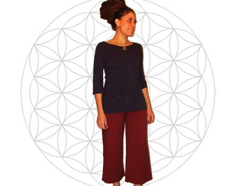 Organic Clothing - Custom Made - Festival pants - Made to order - Organic cotton and soy blend capri style yoga pants - Handmade and dyed