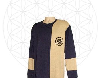 Hemp clothing- Organic Clothing - Handmade Mens Hemp and Organic Cotton Shirt - Sacred Geometry Print - Custom made to order