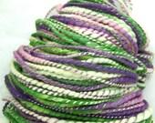 HandSpun Yarn Bulky 2ply Yarn merino wool and tencel Spring Crocus 83 yards 5.7 ounces