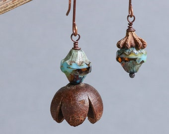 asymmetrical dangle earrings with natural flower pod - rustic botanical jewelry - hammered copper - mismatched