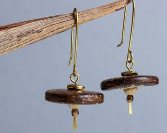 hammered brass earrings with coconut shell and glass - ethnic boho jewelry - natural brown rustic dangle earrings