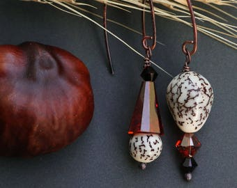 mismatched earrings with betel nuts and magma red crystals - gift for nature lover - asymmetrical ethnic dangle - hammered copper jewelry