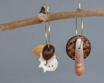 asymmetrical earrings with sea urchin, shell and nuts - mismatched dangle earrings - eco friendly tropical jewelry