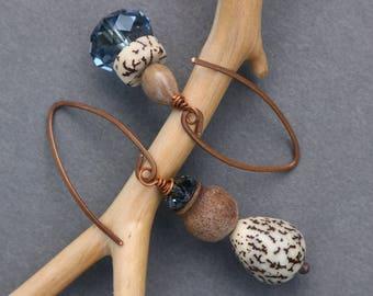mismatched earrings with denim blue crystals, eucalyptus and betel nut - asymmetrical dangle - ethnic boho botanical jewelry