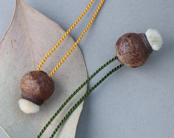 dainty nature charm necklace - eucalyptus pod and willow catkin - delicate natural jewelry - sustainable