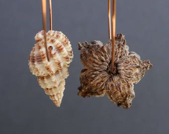 large hammered copper hoops with dried pod flower and exotic sea shell - asymmetrical boho mismatched earrings - natural ethnic jewelry