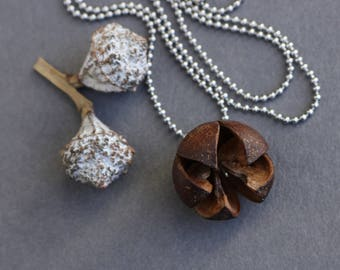 natural flower charm on stainless steel ball chain - minimalist organic jewelry - small nature pendant - brown
