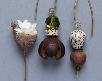 hammered brass earrings with real flower and betel nut - asymmetrical dangle - ethnic boho botanical jewelry