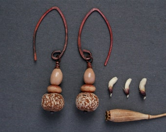 natural drop earrings with exotic mahogany pod beads - rustic earthy jewelry - nature gift