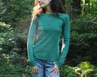 organic hemp clothing - extra long sleeve boat neck shirt - 100% hemp and organic cotton - custom made to order - hand dyed