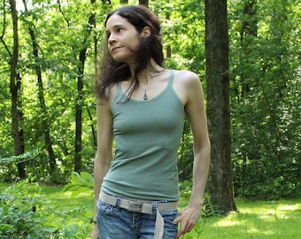 hemp clothing for women - stretch camisole / singlet / strap shirt - hemp and organic cotton - custom made to order - hand dyed