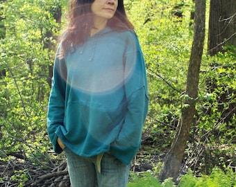 meta forest pullover hoodie / woodland hoody / pocket sweatshirt - 100% hemp and organic cotton - custom made hand dyed - sizes xxs to xl