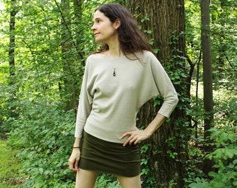 hemp clothing - 3/4 dolman sleeve batwing shirt - 100% hemp and organic cotton - custom made to order - hand dyed - sizes 0 to 12
